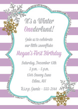 Glitter Snowflakes Purple Stripes Birthday Invitations