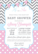 Pink Blue Gender Reveal Baby Shower Invites