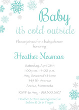 Aqua Snowflakes Baby Shower Invitations