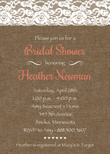Coral Script Lace On Burlap Bridal Shower Invitations