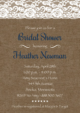 Navy Script Lace On Burlap Bridal Shower Invitations