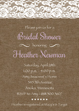 Purple Script Lace On Burlap Bridal Shower Invitations
