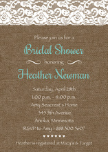 Teal Script Lace On Burlap Bridal Shower Invitations