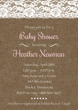 Blush Pink Script Lace On Burlap Invitations