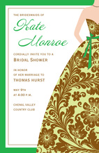 Green Bridesmaid Damask Gown Invitations