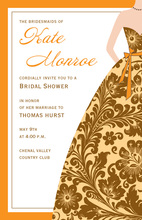 Orange Cream Bridesmaid Damask Invitations