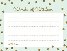 Gold Glitter Graphic Dots Mint Advice Cards