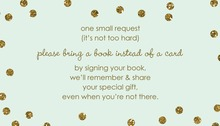 Gold Glitter Graphic Dots Mint Bring A Book Card