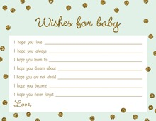 Gold Glitter Graphic Dots Mint Baby Wishes