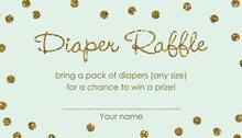 Gold Glitter Graphic Dots Mint Diaper Raffle Cards