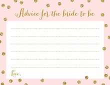 Gold Glitter Graphic Dots Pink Bridal Advice Cards
