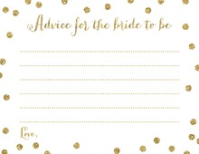 Gold Glitter Graphic Dots Bridal Advice Cards