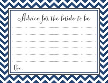 Navy Chevrons Bridal Advice Cards