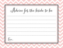 Pink Chevrons Bridal Advice Cards
