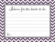 Eggplant Chevrons Bridal Advice Cards