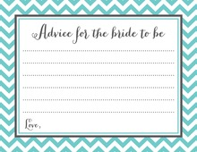 Teal Chevrons Bridal Advice Cards
