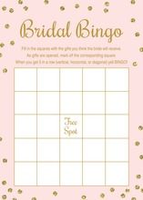 Gold Glitter Graphic Dots Pink Bridal Bingo