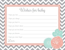 Teal Floral Coral Frame Grey Chevron Baby Wish Cards