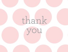 Blush Pink Dots Simple Grey Thank You Note