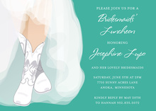 White Wedding Boots Teal Bridal Shower Invitations