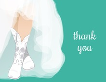 White Wedding Boots Teal Bridal Note