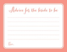 Coral Border Bridal Advice Cards