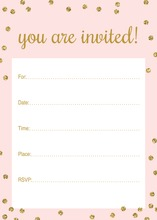 Gold Glitter Graphic Dots Pink Fill-in Invitations