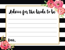Black Stripes Watercolor Floral Bridal Advice Cards