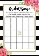 Black Stripes Watercolor Floral Bridal Bingo