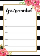 Black Stripes Watercolor Floral Fill-in Invitations