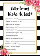 Black Stripes Watercolor Floral Who Knows Bride Game