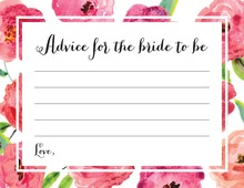 Watercolor Floral Border Bridal Advice Cards