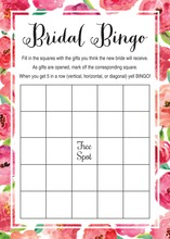 Watercolor Floral Border Bridal Bingo Game