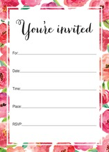 Watercolor Floral Border Fill-in Invitations