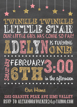 Twinkle Gold Star Pink Girl Chalkboard Invitations