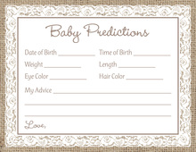White Lace Border Burlap Baby Prediction Cards