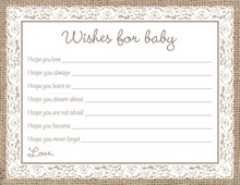 White Lace Border Burlap Baby Wish Cards