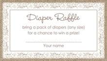 White Lace Border Burlap Raffle Cards