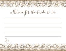 Scalloped White Floral Lace Burlap Bridal Advice Cards