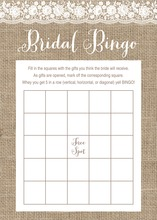 Scalloped White Floral Lace Burlap Bridal Bingo