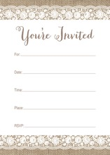 Scalloped White Floral Lace Burlap Fill-in Invites