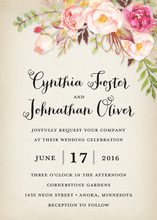 Rustic Watercolor Rose Bouquet Invitations