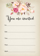 Rustic Watercolor Rose Bouquet Fill-in Invitations