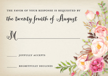 Rustic Watercolor Rose Bouquet RSVP Cards