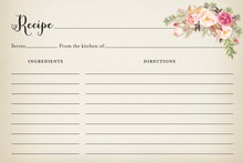 Rustic Watercolor Rose Bouquet Recipe Cards