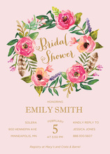 Watercolor Rose Bouquet Pink Invitations