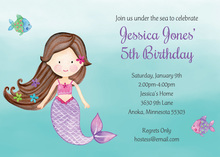 Brunette Little Mermaid Invitations