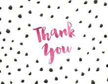 Watercolor Dots Pink Thank You Note