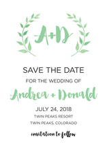 Green Watercolor Laurel Leaf Monogram Invitation