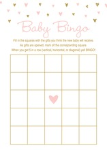 Gold Glitter Graphic Hearts Baby Bingo